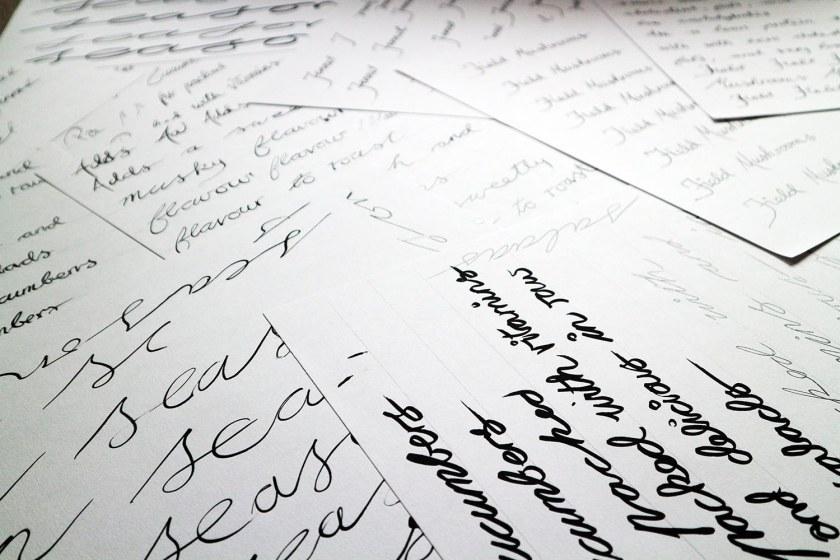 Handwritten titles for Assignment 2