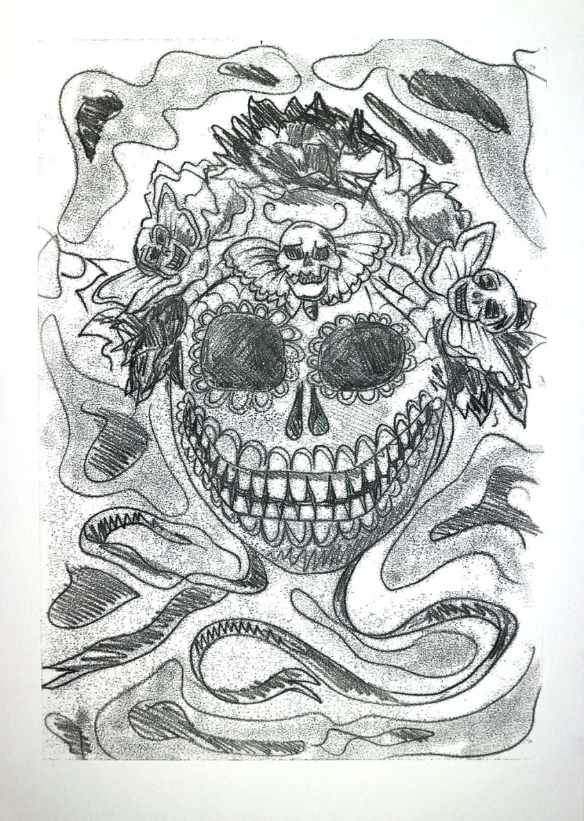 Mexican death mask backdrawing