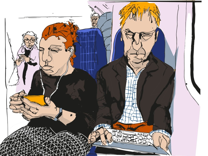 Man with iPad and women with phone visual
