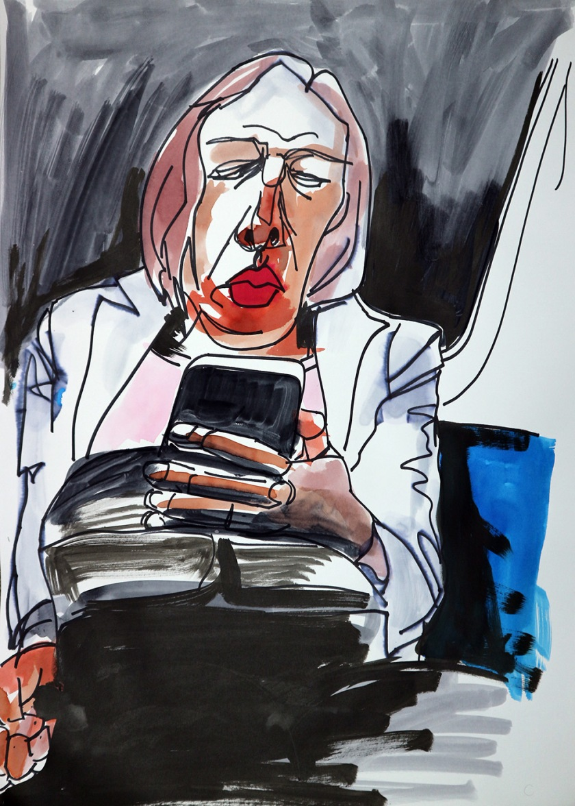 Woman with phone drawing