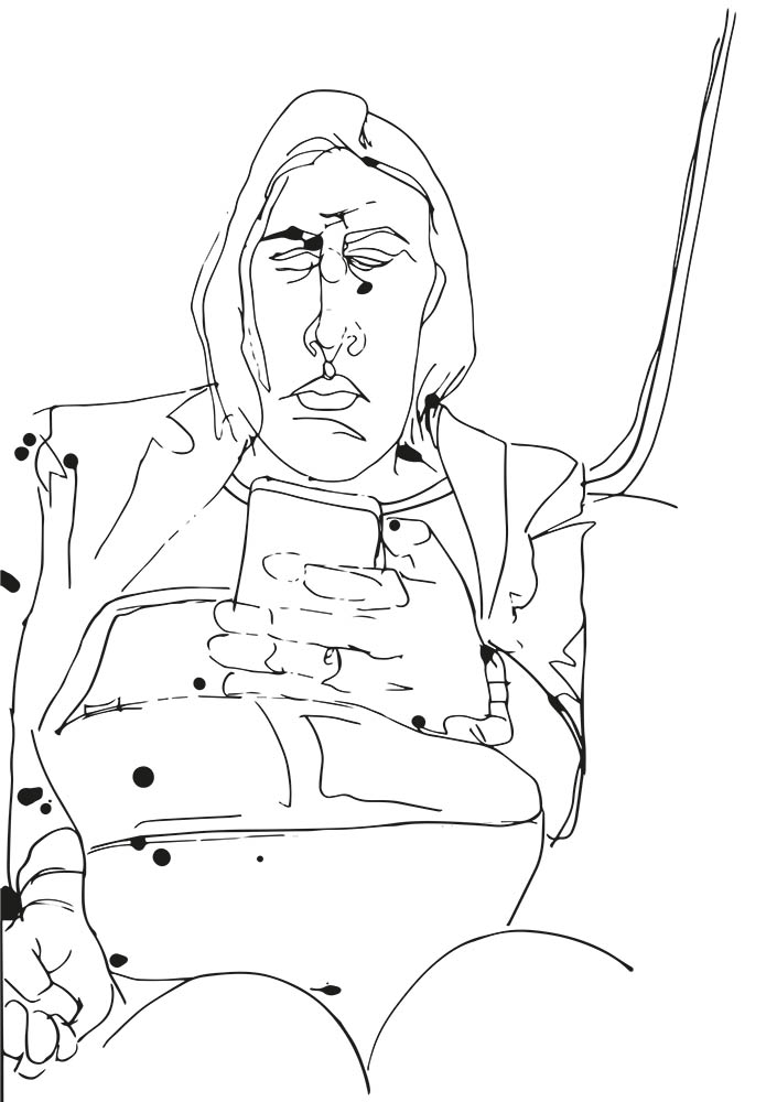 Woman with phone pen and ink