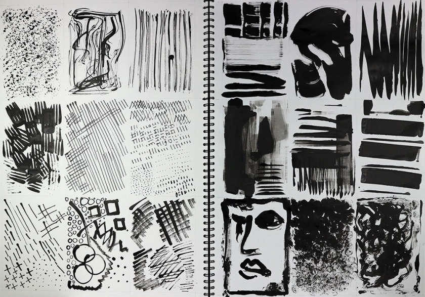 Drawing with objects test strip