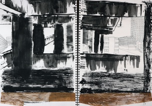 Illustrative drawing of the Barbican Centre - A2 sketchbook