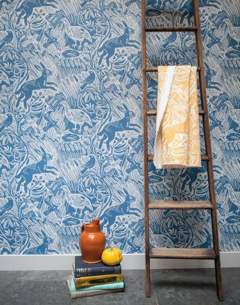 Mark Hearld Harvest Hare wallpaper design