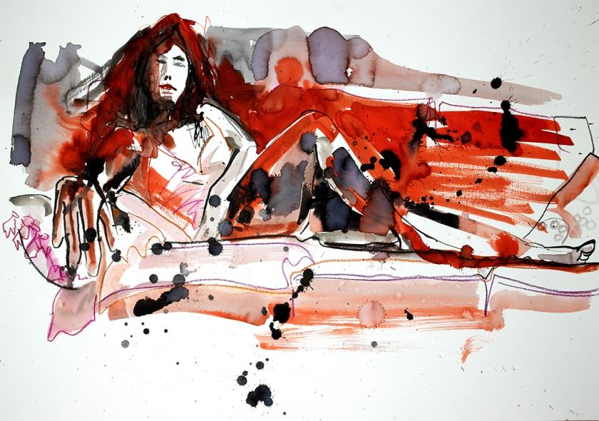 Life drawing reclining figure
